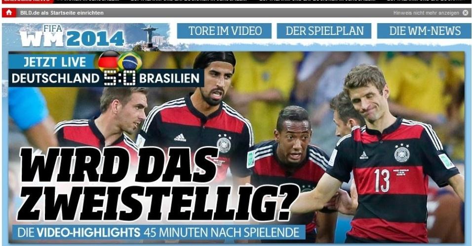 """""""Será de dois dígitos?"""", pergunta jornal Bild, da Alemanha, quando o Brasil levava de 5 a 0"""