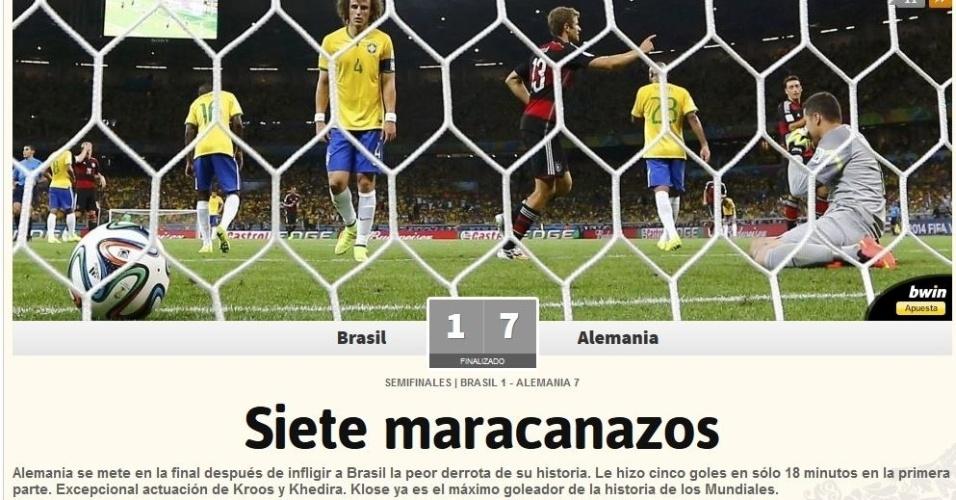 """""""Sete Maracanazos"""", diz o jornal As, da Espanha"""