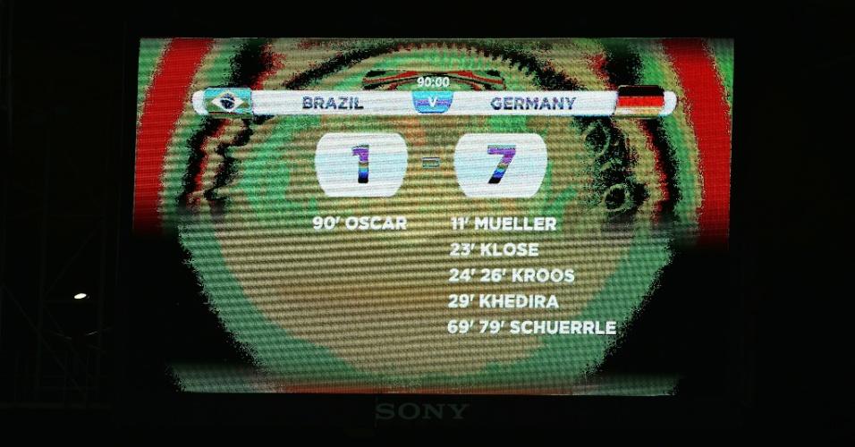 Telão mostra o resultado da primeira semifinal da Copa, no Mineirão. Alemanha faz 7 a 1 no Brasil e garante vaga na final do Mundial