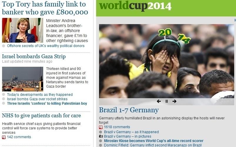 """The Guardian, da Inglaterra: """"Alemanha humilha completamente o Brasil em uma exibição espantosa que os anfitriões nunca esquecerão"""""""