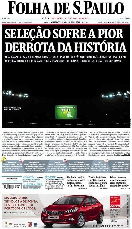 """A Folha de São Paulo lamentou """"a pior derrota da história"""" da seleção brasileira"""