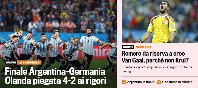 A Gazzetta dello Sport, da Itália, fala da vitória nos pênaltis da Argentina e questiona Van Gaal por não ter colocado o reserva Krul para tentar defender os pênaltis