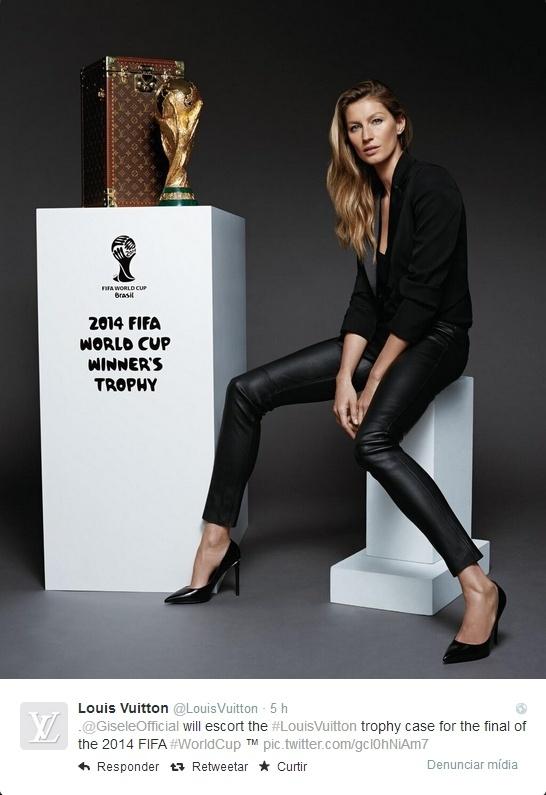 A grife Louis Vuitton divulgou imagem de Gisele com a maleta em que a top model carregará a taça na final da Copa