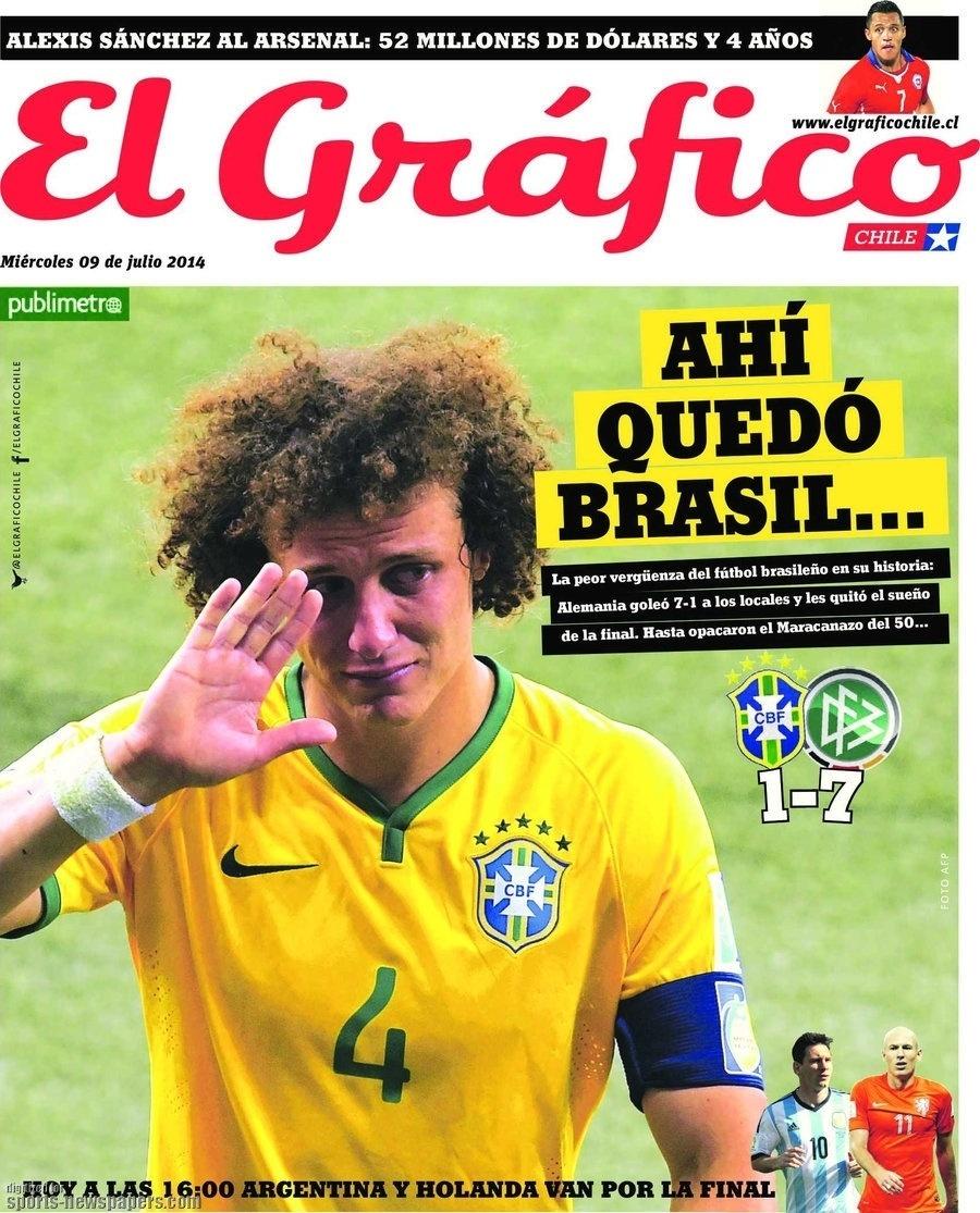 """""""A pior vergonha da história do futebol"""". Jornal El Gráfico também deu destaque na capa para o vexame brasileiro"""