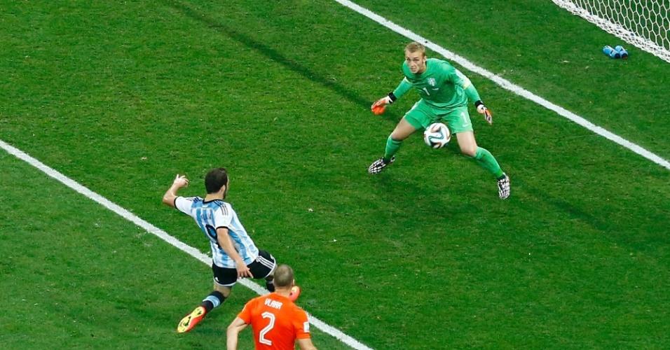 Gonzalo Higuaín perde oportunidade de abrir o placar para a Argentina contra a Holanda