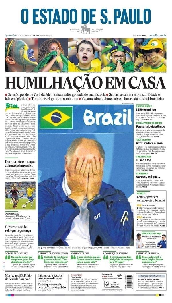 """""""Humilhação em casa"""" e uma foto de Felipão cobrindo o rosto foram os elementos utilizados pelo jornal O Estado de S. Paulo em sua capa"""