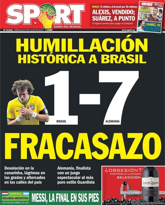 """""""Humilhação histórica do Brasil"""", disse o espanhol Sport, que chamou a eliminação de """"Fracassazo"""""""