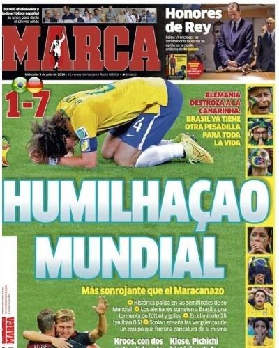 """""""Humilhação mundial"""". O jornal espanhol Marca não perdoou a goleada histórica sofrida pelo Brasil contra a Alemanha"""