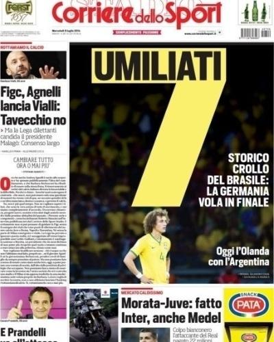 """""""Humilhados"""". Assim o italiano Corriere dello Sport definiu a seleção brasileira"""