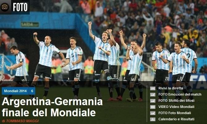Manchete do italiano Corriere dello Sport, valorizando a final entre Argentina e Alemanha