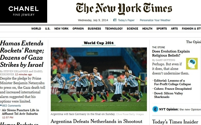 Manchete do norte-americano New York Times