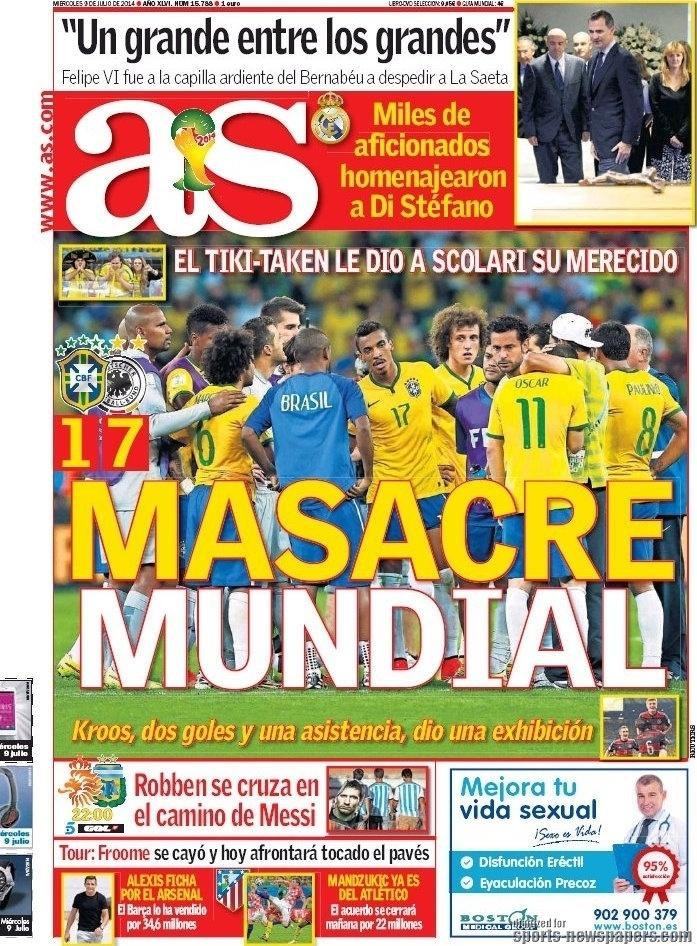 """""""Massacre mundial"""", manchetou o espanhol As"""