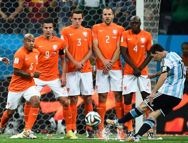 Messi cobra falta perigosa, que termina nas mãos do goleiro holandês Cillessen