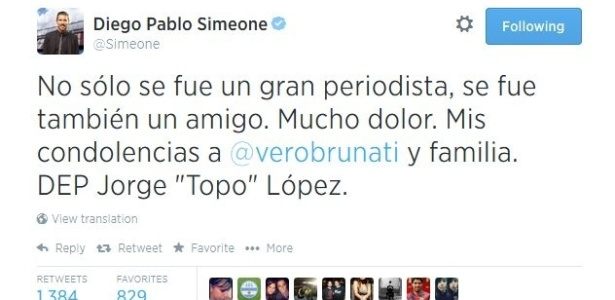 Mulher de jornalista argentino morto em acidente no Brasil sabe da notícia pelo twitter