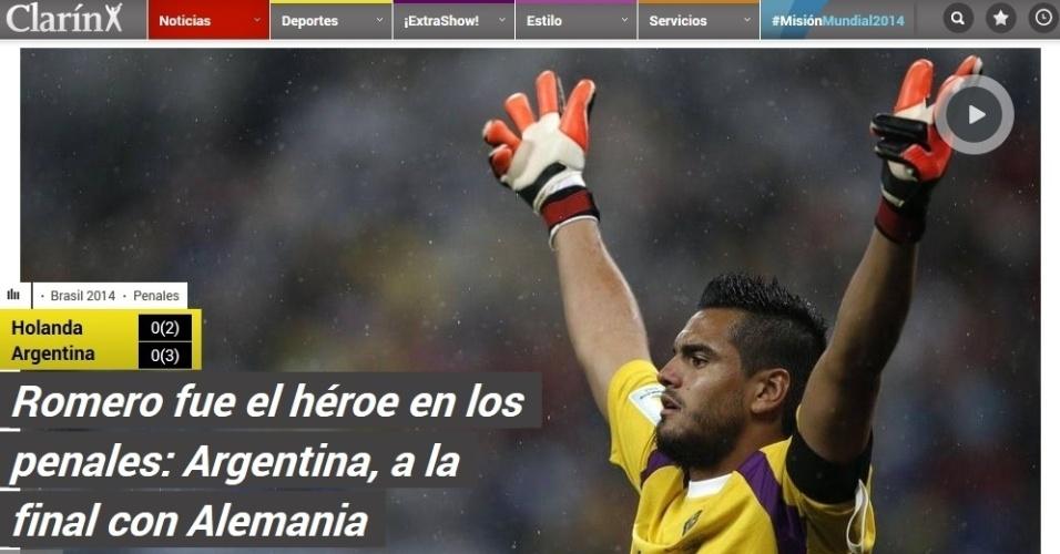 O Clarín, um dos principais diários da Argentina, chamou Romero de herói depois da vitória nas penalidades