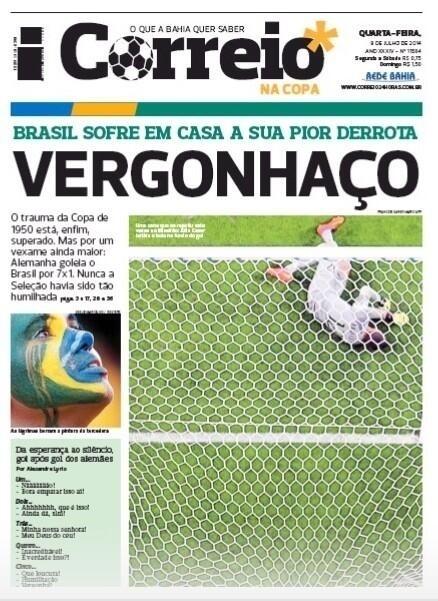"""O Correio, da Bahia, chamou a goleada sofrida pela seleção de """"Vergonhaço"""""""