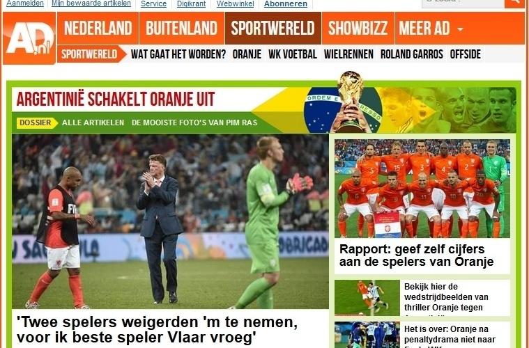 O holandês AD lamentou os dois pênaltis perdidos, um deles por Vlaar, um dos melhores com a bola rolando, segundo o jornal