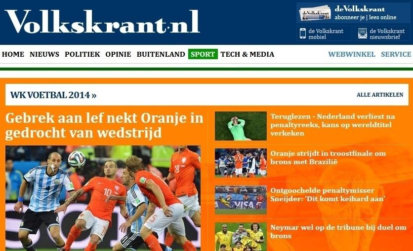 O holandês Volkskrant foi mais crítico e apontou falta de coragem da equipe dirigida por Van Gaal