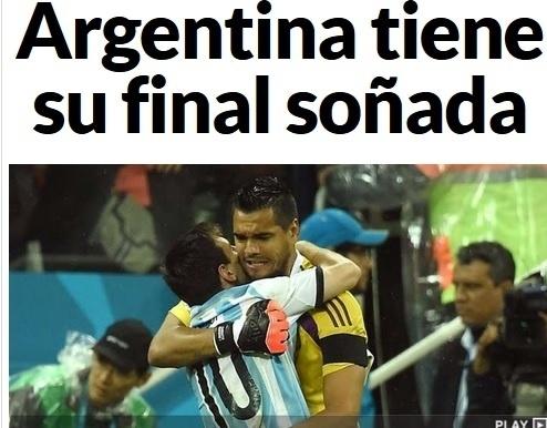 O Marca, da Espanha, destaca a 'final sonhada' pela Argentina