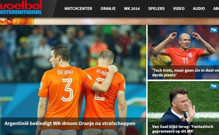 O Voetbal, da Holanda, lamentou o 'sonho' interrompido pela Argentina na semifinal desta quarta-feira