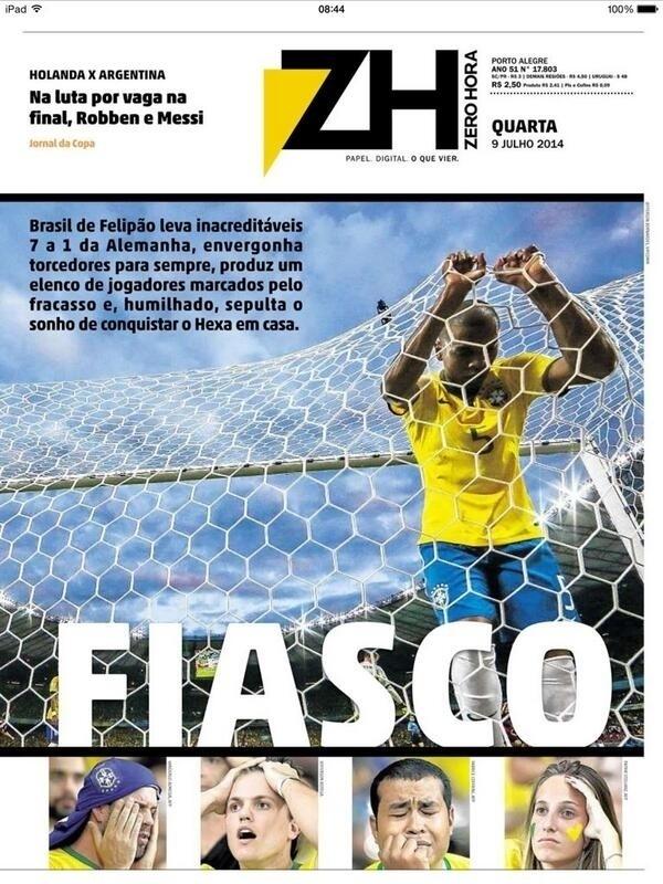"""O Zero Hora chamou o desempenho da seleção de """"fiasco"""""""