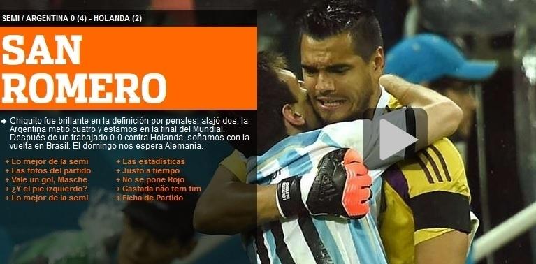 Olé chamou Romero de 'santo' graças às duas defesas do goleiro na disputa por pênaltis