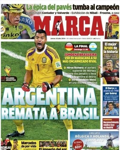 A vitória da Argentina sobre a Holanda nos pênaltis também foi destaque no Marca, de Madri