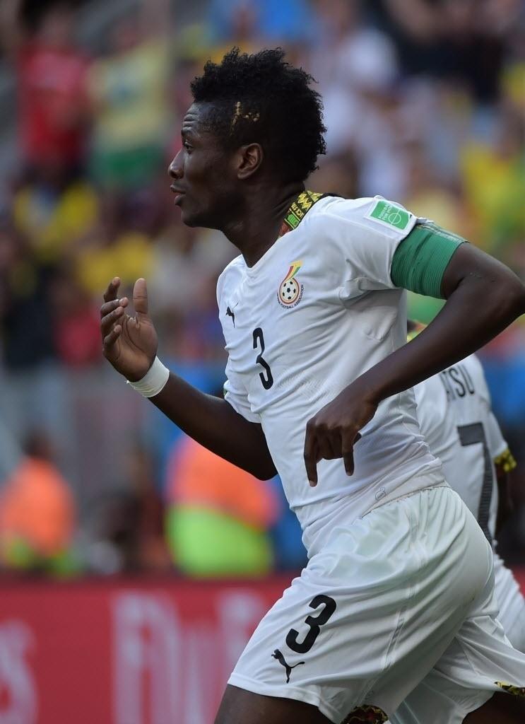 Asamoah Gyan, do Gana, comemora no gol em partida contra Portugal no estádio Mané Garrincha