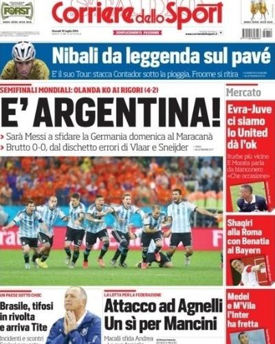 Classificação da Argentina para a final também foi destaque no italiano Corriere dello Sport