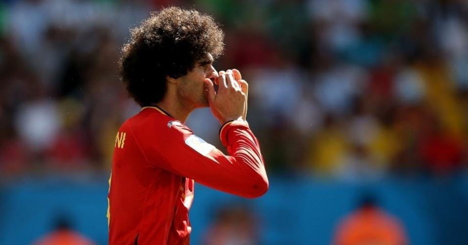 Fellaini, da Bélgica, na quarta de final contra a Argentina