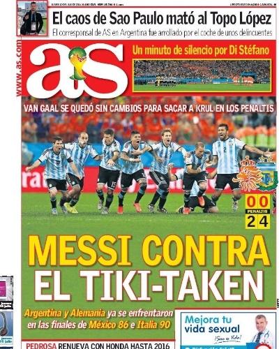 Jornal As, de Madri, destacou o fato de Lionel Messi estar na final contra a Alemanha