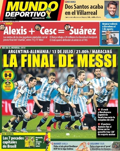 "Na Catalunha, região do Barcelona, o Mundo Deportivo exaltou ""A final de Messi"""