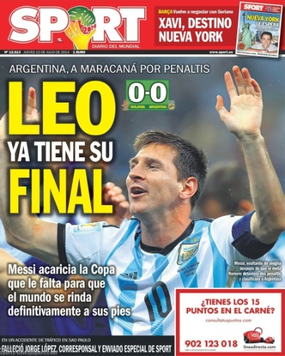 """O diário catalão Sport também foi na mesma linha e destacou o craque do Barcelona: """"Leo já tem sua final"""""""