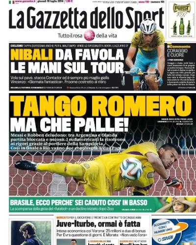 O italiano La Gazzetta dello Sport destacou a atuação do goleiro Romero, que pegou dois pênaltis e colocou a Argentina na final da Copa do Mundo