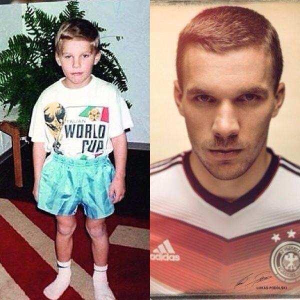 Podolski publica uma foto atual, onde aparece ao lado de outra imagem de 1990
