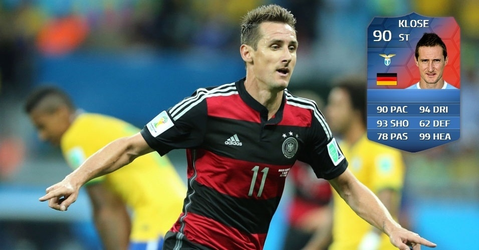 Alemanha 7 x 1 Brasil: Miroslav Klose (84 para 90) - carta especial pelo recorde de gols em Copas do Mundo