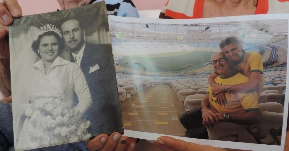Gabriel e Marylia exibem fotos de arquivo pessoal que contam a história de 64 anos: casamento (e) e visita ao Maracanã (d)
