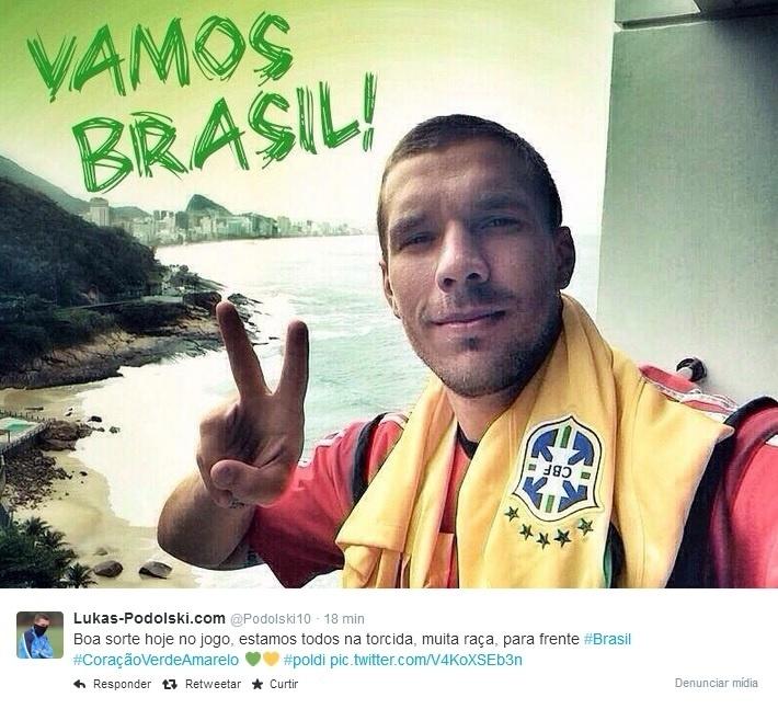 12. jul. 2014 - Podolski está no torcida do Brasil contra a Holanda