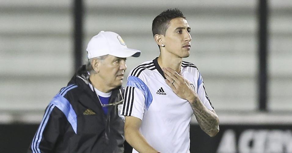 Di Maria treinou durante os 15 minutos de trabalho da Argentina aberto à imprensa em São Januário, neste sábado