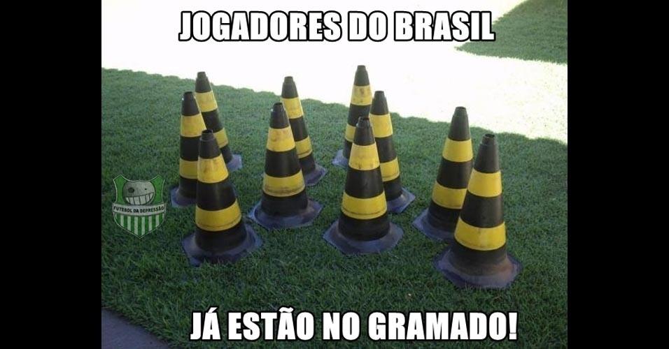 Imagens mostram aquecimento do Brasil para jogo contra a Holanda