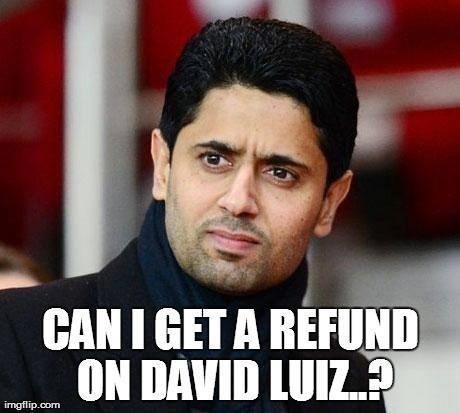 """""""Posso pedir reembolso do David Luiz?"""" PSG teria se arrependido da compra do zagueiro brasileiro"""
