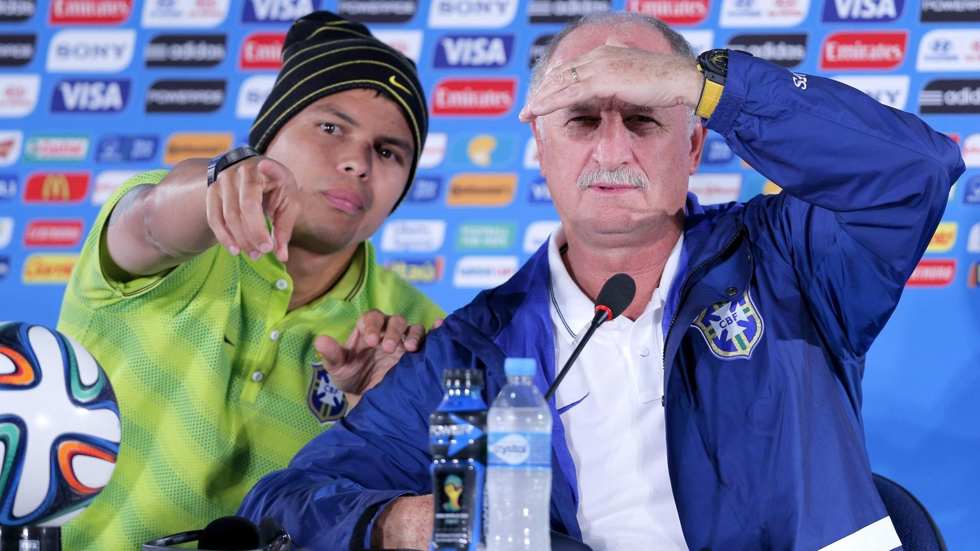 Thiago Silva e Scolari concedem entrevista coletiva antes da partida contra a Holanda pelo terceiro lugar da Copa
