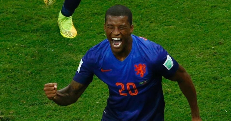12.jul.2014 - Wijnaldum mostra toda a alegria depois de marcar na vitória por 3 a 0 sobre o Brasil, no estádio Mané Garrincha