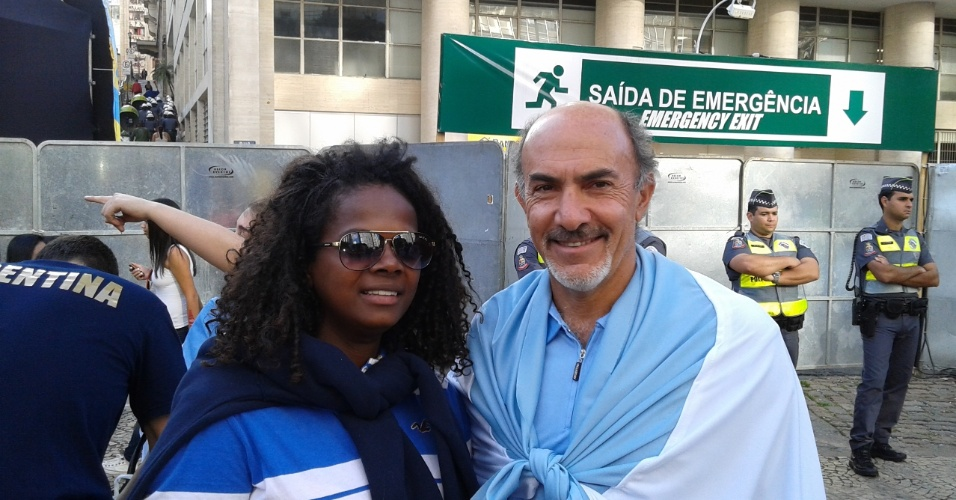 Yara e José curtem a Fan Fest no Anhangabaú durante a final da Copa do Mundo