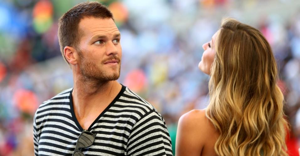 Gisele Bündchen e Tom Brady estão no Maracanã para acompanhar a final da Copa do Mundo