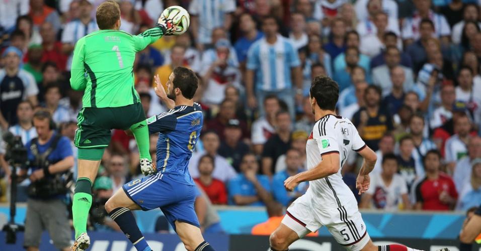 Goleiro Manuel Neuer afasta a bola com soco para impedir investida de Higuaín
