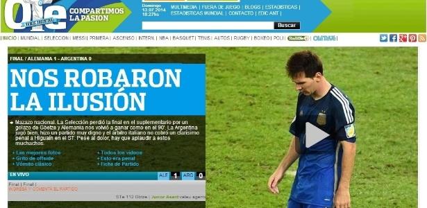 Jornal Olé lamenta vice-campeonato da Copa de 2014