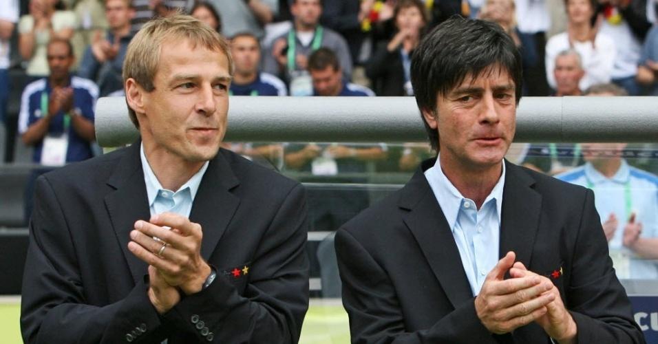 Jüergen Klinsmann e Joachim Löw, em 2006, técnico e assistente, respectivamente, da seleção alemã