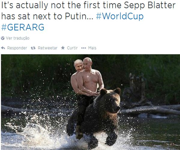 """""""Não é a primeira vez que Blatter se senta ao lado de Putin"""""""