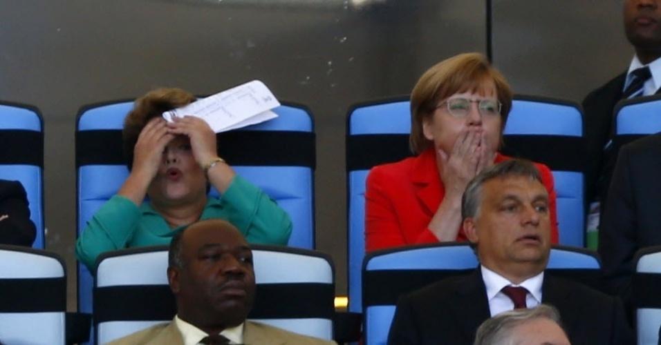 Presidente Dilma e chanceler alemã Angela Merkel reagem durante a final da Copa do Mundo entre Alemanha e Argentina